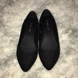 Wet Seal Pointed Toe Black Suede Flats